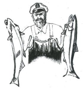Illustration of Herb holding Chinook salmon